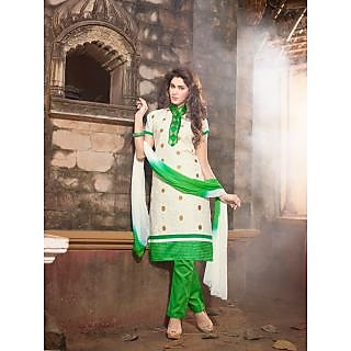 Magnum Opus Store Off White Color Chanderi Cotton Straight Cut Suit.
