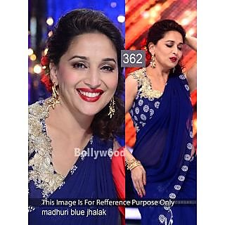 Madhuri Royal Blue Georgette With Velvet Saree