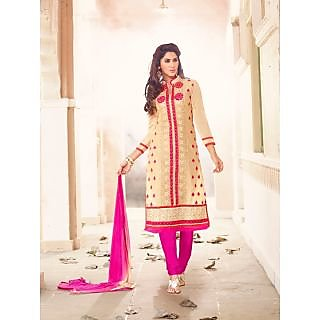 Magnum Opus Store Beige Color Chanderi Cotton Straight Cut Suit.