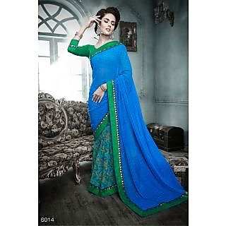 RnHeer6014 Georgette Printed Embroidery Saree With Bhagalpuri Matching  Blouse.