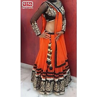 Latest Red And Black Net Embroidered  Designer Lehenga