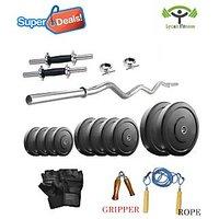 Lycan 22 Kg Home Gym + 2 Pc Dumbbells Rod's +3 Feet Curl Bar+Glove+Rope+Gripper