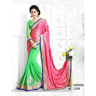 KiteshopGreen And Pink Exclusive Designer Saree Copy