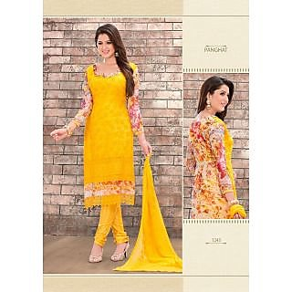Semi-Stitched Embroid Chiffon Straight Long Salwar Kameez Suit With Printed Back - 74889146
