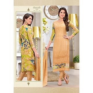 Semi-Stitched Embroid Chiffon Straight Long Salwar Kameez Suit With Printed Back - 74889152