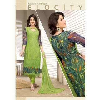 Semi-Stitched Embroid Chiffon Straight Long Salwar Kameez Suit With Printed Back