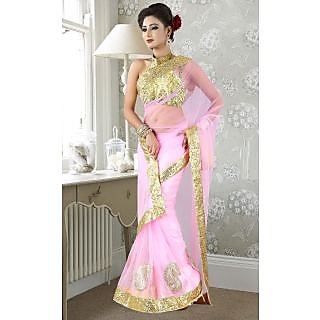 BlueBerry Fashions Replica Light Pink Color Net Fabric Party Wedding Wear Saree