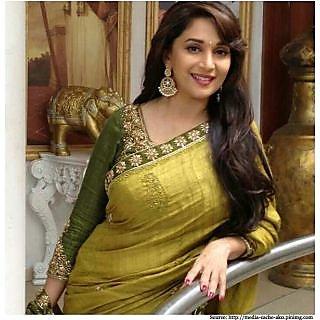 Bollywood Sarees: Madhuri Dixit In Yellow Green Designer Saree - 74890034