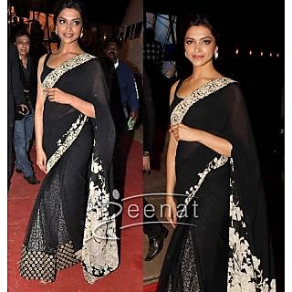 BOLLYWOOD DESIGNER SAREES- DEEPIKA'S BLACK AND SILVER SAREE