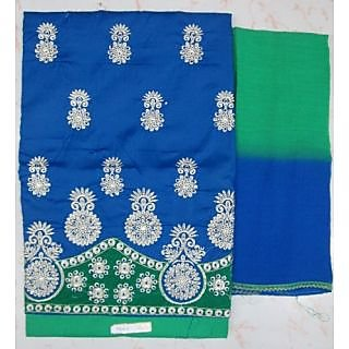 """4 Suits """"Anjali"""" 3pc Full Embroided Suit With Velvet Lac Border"""