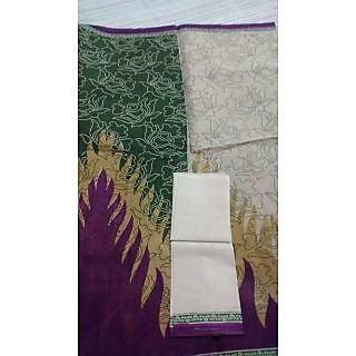 Pure Cotton Printed Half And Half Saree With Blouse Piece