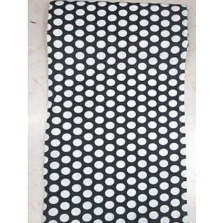 Cotton AllOver Full Suit 4 Meters Black Suit White Dots