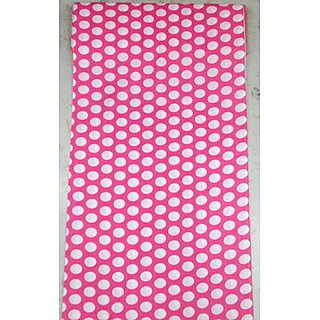 Cotton AllOver Full Suit 4 Meters Pink Suit White Dots
