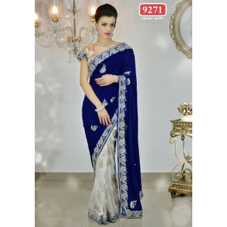 Beautiful Blue & White Color Net Embroidered  Designer Sarees