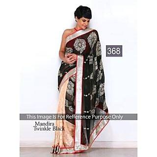 Mandira Black And Cream Georgette Fancy Work Saree