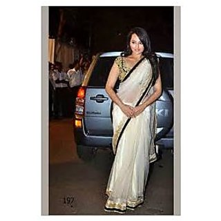 Rchlady Fashion Sonakshi Sinha Net Lace Work Cream Saree