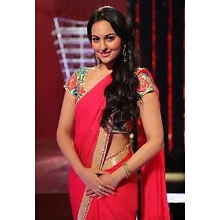Sonakshi Sinha In Hot Pink Designer Saree Replica With Heavy Blouse - 74902214