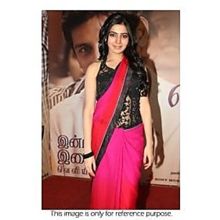 Richlady Fashion Samntha In Pink And Black Chiffone Saree