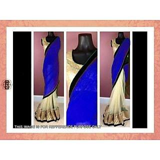 Bollywood Replica Blue And Cream Half Half Chiffon Net Saree