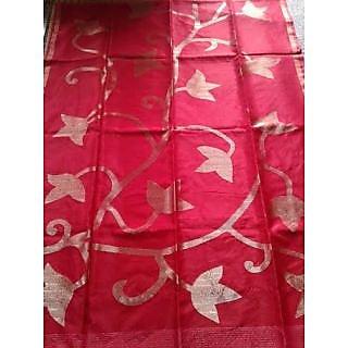 Gorgeous Red Half And Half Resham Saree
