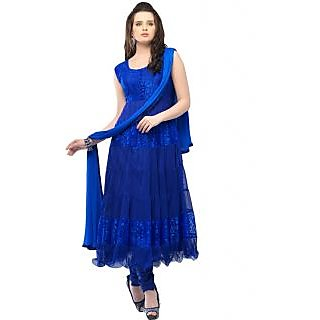 Crystal Fashion Designer Blue Net Brasso Anarkali Dress Material