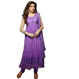 Crystal Fashion Designer Purple Net Brasso Anarkali Dress Material
