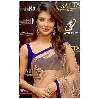Richlady Fashion Priyanka Chopra Net Sequins Work Beige & Blue Saree