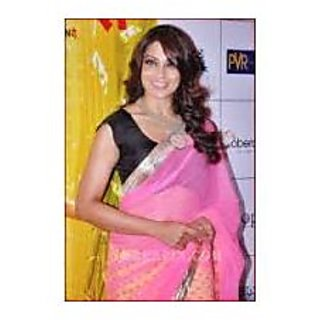 Richlady Fashion Bipasha Basu Net Border Work Yellow & Pink Saree