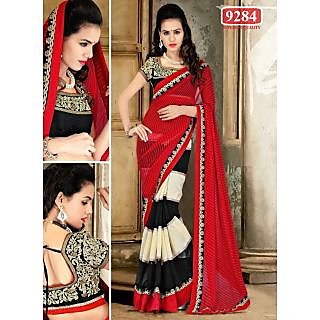 Beautiful Red Color Embroidered Georgette Designer Sarees