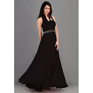 Crystal Fashion Black Faux Georgette Plain Anarkali Gown Dress Material
