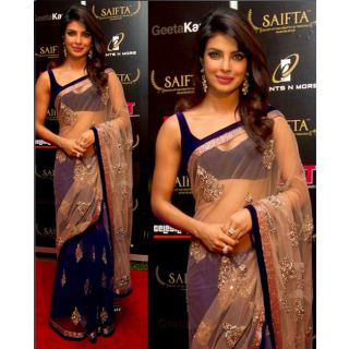 Partywear Saree Bollywood Saree  Priyanka Chopra Royal  Blue Saree