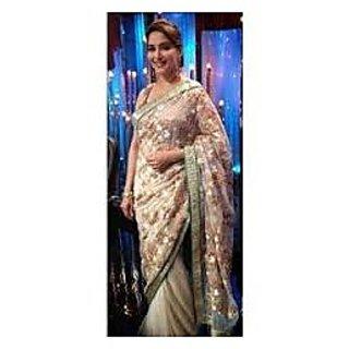 Richlady Fashion Madhuri Dixit Net Zari Work Cream & Golden Saree