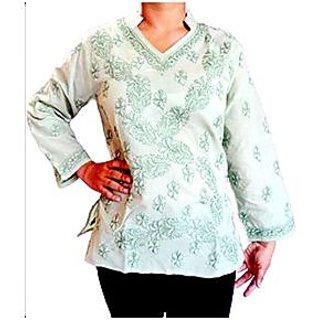 Hand Embroidered Mehendi Color Short Kurti