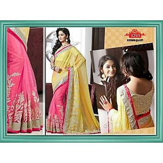 Beautiful Pink&yellow Color Georgette& Net Embroidered  Designer Sarees
