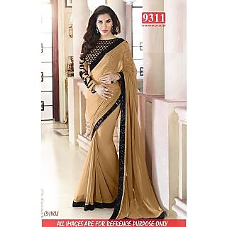 Stylish CHIKU Color Georgette Embroidered Worked  Designer Sarees