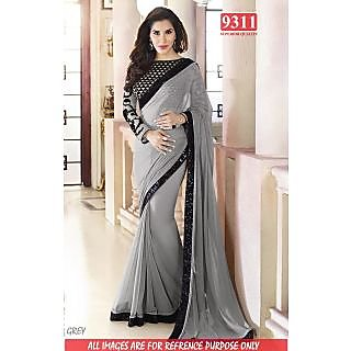Stylish GREY Color Georgette Embroidered Worked  Designer Sarees