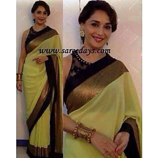 Bollywood Replica Saree-Madhuri Lemon Yellow Saree