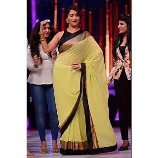 Bollywood Sarees: Madhuri Dixit Yellow Saree At Jhalak Dikhla Jaa By Vamika