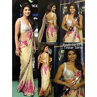 Bollywood Replica Sarees- Priyanka IIFA Beige Net Saree