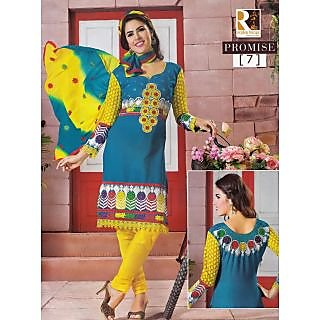 Promise Dresses - Turquoise + Yellow Unstitched Suit With Dupatta