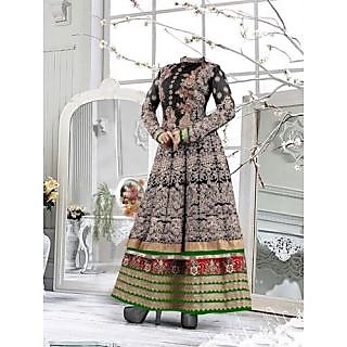 Beautiful Black & Green Pure Georgette Embroidered Work Anarkali Suit-4095