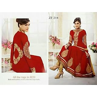 Fastcolors Women's Red Salwar Suit And Dupatta