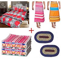 JBG Home Store Attractive Combo Of Bedsheet,Bath Towels,Hand Towels,Bath Mats