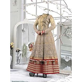 Beautiful Cream & Maroon Pure Georgette Embroidered Work Semi Stitched Suit-4096