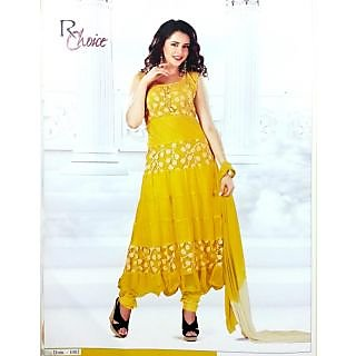 RChoice Fashion 1002 - Yellow Unstitched Suit With Dupatta