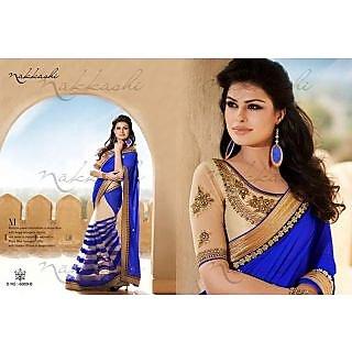 Nakshi Blue Net Bollywood Replica Saree