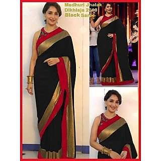Madhuri Dixit Black And Red Border Saree At Jhalak Dikhla Jaa