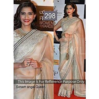 Sonam Kapoor Cream With Patch Border Bollywood Replica Saree