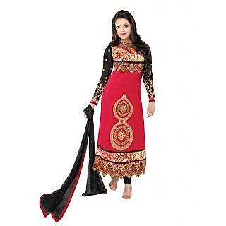 Glammrous Red Semi Georgette Straight Cut Salwar Kameez