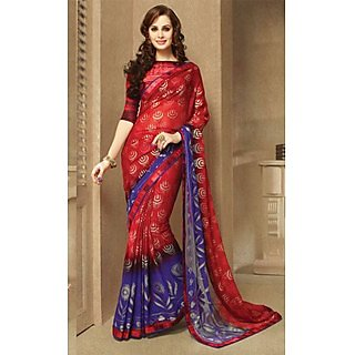 Dazzling Red,Blue Lace Border Georgette Saree With Blouse